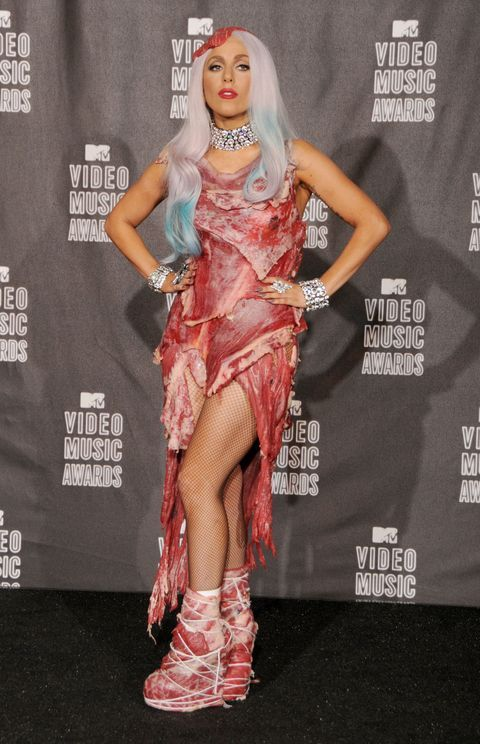 Lady Gaga. MTV Music Awards outfit. Dress made from real meat and accessorized with diamonds C 2010