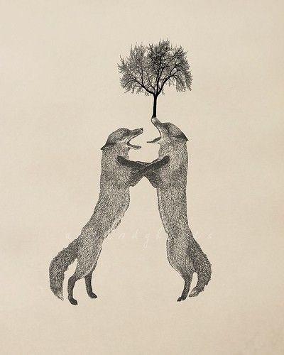 fox tree print