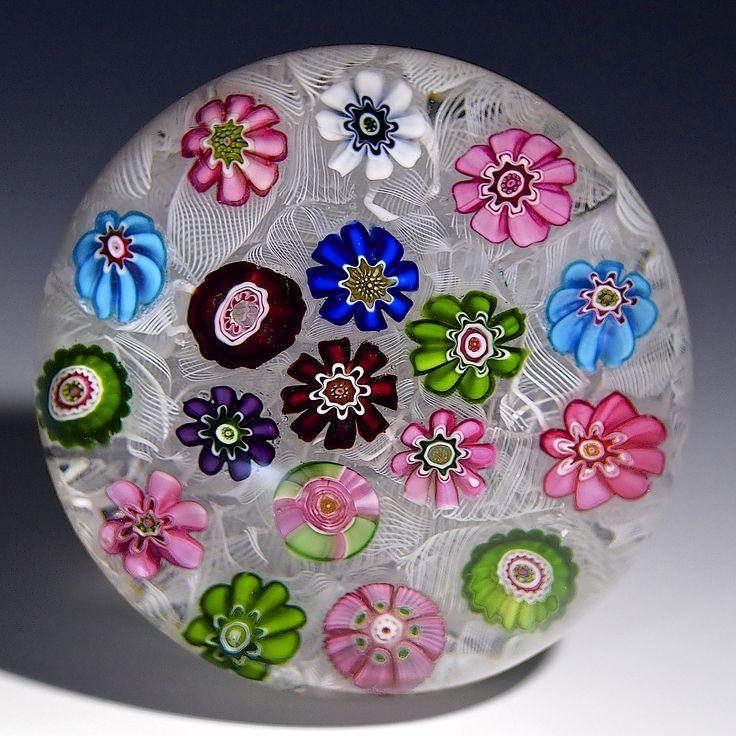 """Clichy {France} paperweight - 18 canes over upset muslin, w/green 'n pink rose cane, 1845-50, 2 1/8""""w x 1 3/8""""t, 6.73 oz. - # 0740"""
