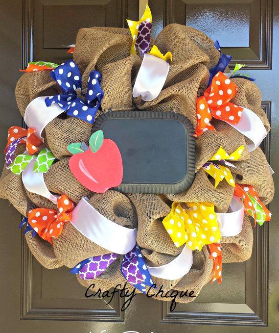 Teacher Themed Burlap Wreath Classroom Wreath by CraftyChique06
