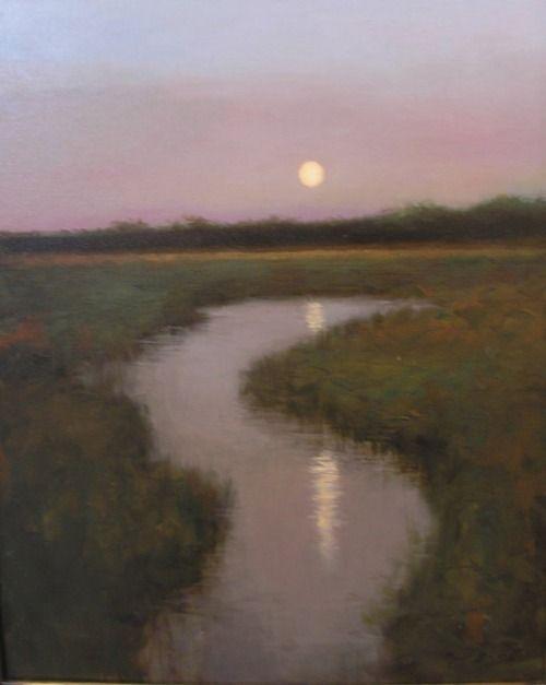Dusky summer evening, full moon - by artist Paul Batch ~ So soothing.