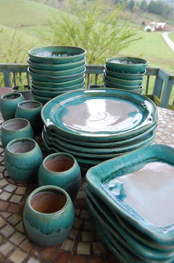 Made to Order - May take 3 - 6 weeks to complete.  This is a handmade pottery eclectic dinnerware set of 4 place settings. Each piece of this dinnerware set has been hand crafted from a durable stoneware clay body. Combining the round dinner plates with square salad plates makes this set have more visual interest. This dinnerware set is glazed in our beautiful Turquoise and White which makes food look great on them.  Feel free to contact us about customizing your own personalized set that…