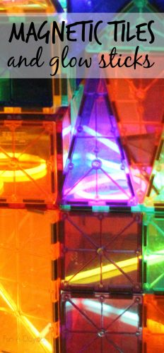 Building and exploring with magnetic tiles and glow sticks