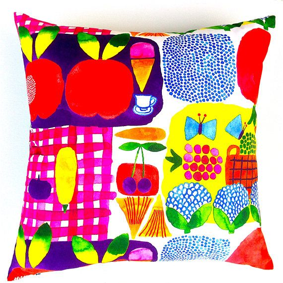 Marimekko Picnic Cushion Cover. Scandinavian Colour Burst