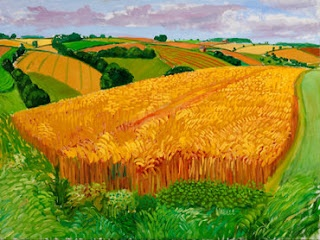 By David Hockney Crops Farmland Green art painting