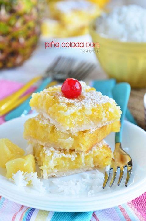 Channel the tropics, lounging on a white sandy beach, with these Pina Colada Bars. Enjoy the flavors of coconut and pineapple and consider it your ticket to a mental tropical paradise. grab the recipe at TidyMom.net