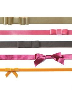 Ribbon bow belts. I made one with some tweaks: I sewed the snaps on instead of gluing them, and placed the bow at one end of the ribbon (instead of at the center). http://www.marthastewartweddings.com/print/314272