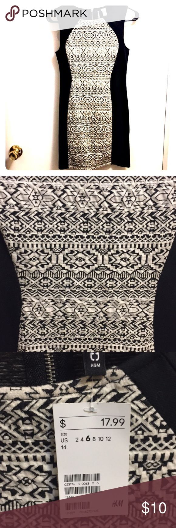 H&M Black and White Mini Dress H&M Black and White Mini Dress. Tribal pattern, color blocking to appear slimmer. Stretchy fabric, new with tags. H&M Dresses Mini