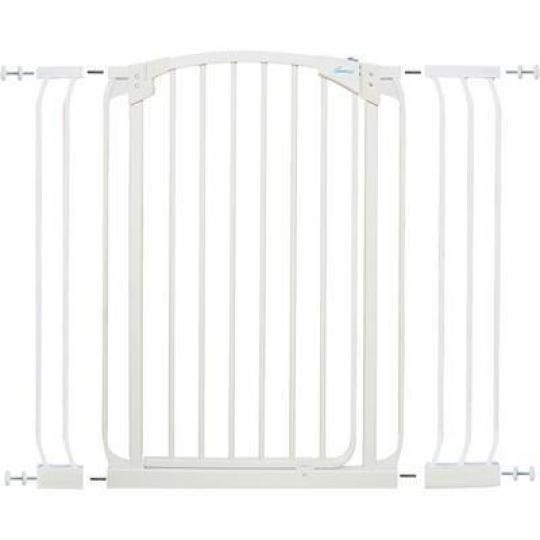Summer Baby Gate. This gate is pretty reasonably priced and doesn't look horrible, which is generally what you want out of a baby gate.  What's great about it is it's really easy to fit into just about any opening and you can install/remove pretty quickly.   It's sturdy, my German Shepherd can't jump over it (a problem with some other gates) and my Chihuahua can't slip through it (also a problem). Learn more at http://www.tiotil.com/content/summer-baby-gate