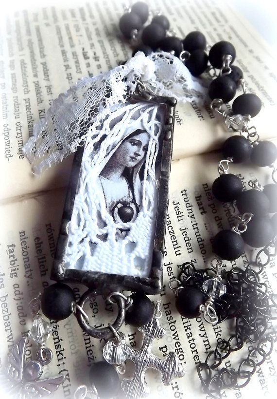 Necklace with the Virgin Mary. Catholic by AcoyaJewellery on Etsy