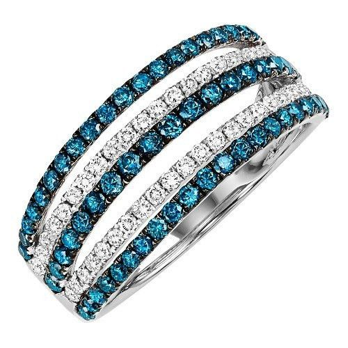 14K White Gold Blue and White 5-Row Diamond Band. Features 1cttw of pave set white and treated blue round diamonds set in 5 rows separated by space and height.