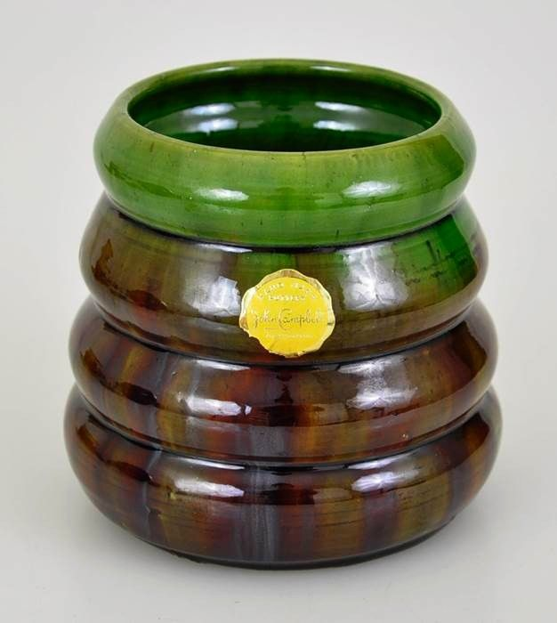 11cm x 11.5cm John Campbell Pottery Green Brown Ribbed Beehive Vase Sticker | eBay