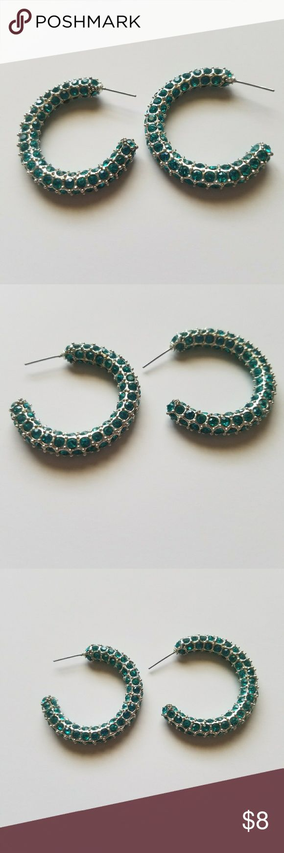 💎Sparkling💎 Blue Hoop Earrings Traci Lynn hoop earrings...good condition Traci Lynn Jewelry Earrings