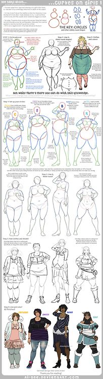 """This tutorial is incredible if you are a character designer looking to diversify yourfemale characters. Adding weight to a character is not as simple as drawing a simple body and curving the lines; you have to know the body structure to get it right.  I tried the second character from the left, """"Gwen,"""" and was shocked at how close my sketch came to this tutorial."""