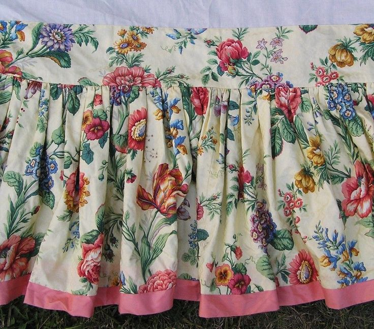 """Scalamandre Bed Skirt Queen Cotton Floral Jacquard Coral Pink Yellow 15.25"""" Drop #Handmade #Traditional"""