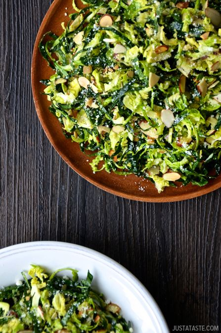 Kale and Brussels Sprout Salad with Lemon Dressing by justataste #Salad #Kale