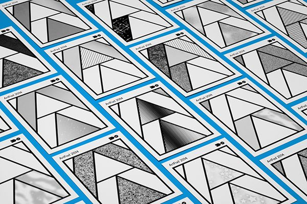 Graphic Identity for ArtFad: Contemporary Art and Craft Awards.The idea was to represent a geometrical A in outline as a layout and then add colour, patterns or materials. The invitations were made using Maxon comic patterns and the only machine process …