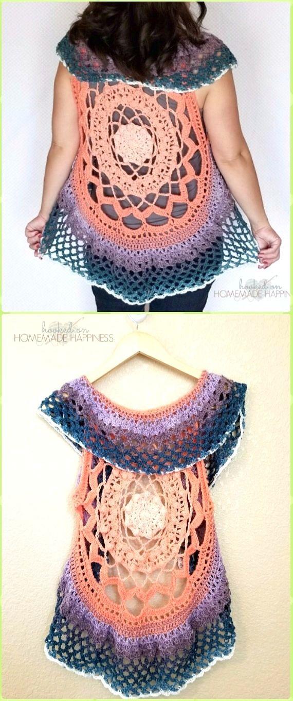 Diy Crochet Circular Vest Sweater Jacket Free Patterns Crochet