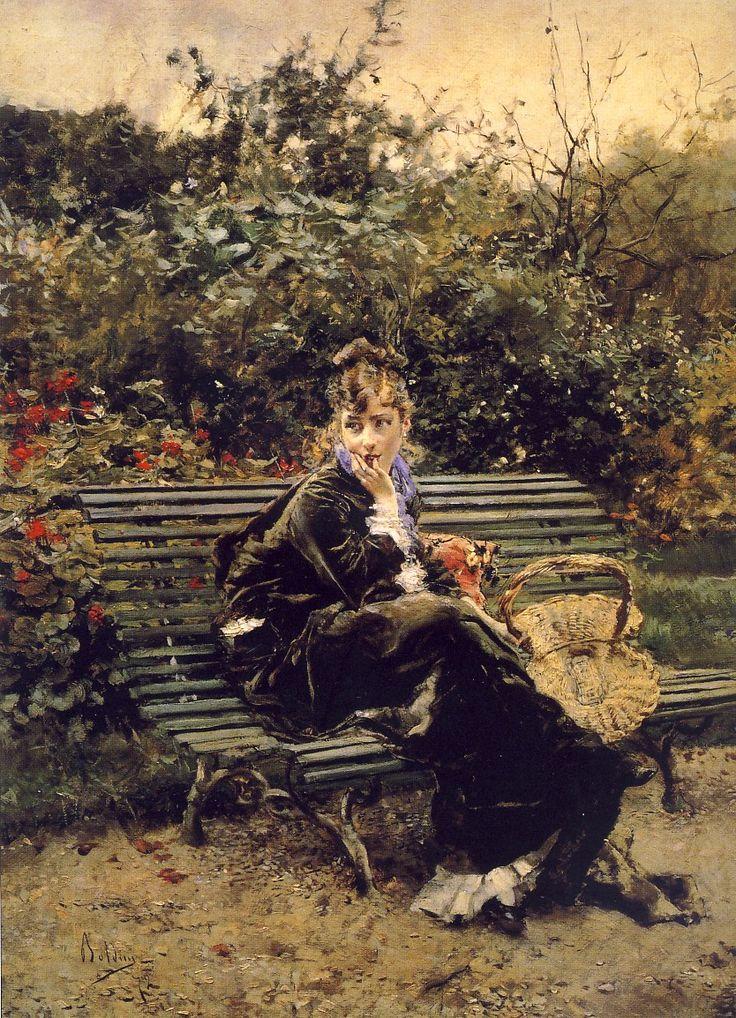 """G.  Boldini  """"Sulla panchina al Bois"""",1872, olio su tavola, 46 x 34 cm, Collezione privata . La modella è Berthe ,conosciuta nel 1871 anno in cui Boldini  si trasferì definitivamente a Parigi nel mese di novembre del 1871 trovando in breve tempo """"uno studio magnifico"""" in Avenue Frochot 12 bis, nel quartiere di Montmartre e l'amore di Berthe, la piccola bionda che gli sarebbe rimasta accanto per più di dieci anni , modella, amante  e governante."""