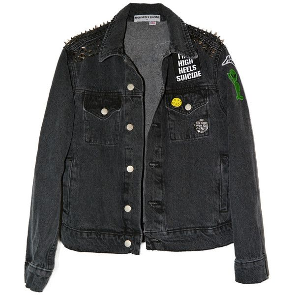 PATCH IT UP DENIM JACKET IN BLACK (365 BRL) ❤ liked on Polyvore featuring outerwear, jackets, tops, coats & jackets, denim jackets, jean jacket, patched denim jacket, patched jean jacket and spiked jackets