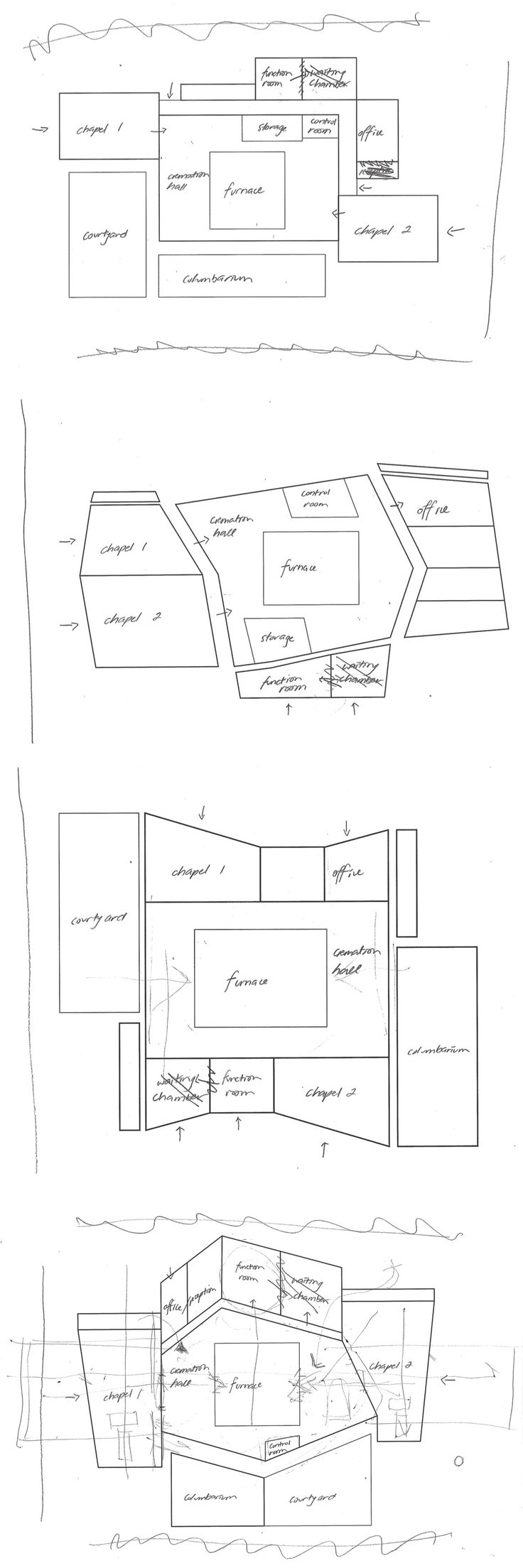 Week 7 - starting to design a plan while assigning spaces for program of crematorium