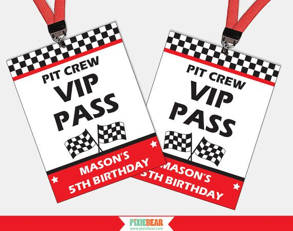 Race Car Birthday VIP Passes Race Car Party VIP by PixieBearParty