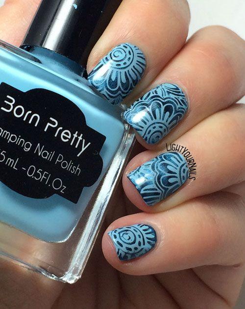 Monochromatic blue flowers nail art feat. BP-L046 stamping plate and Douglas Magnet 3D Blue Attraction #nailart #nailstamping #bornprettystore @bornprettystore