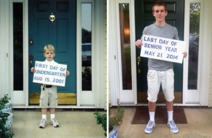Love this pic. First day of kindergarten and last day of senior year school