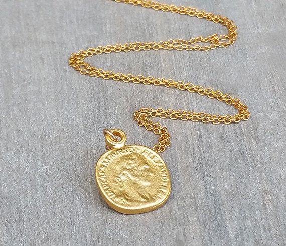 Disc ketting goud munt ketting munt sieraden Delicate