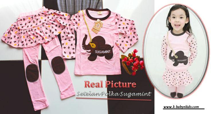 Set Polka Girl Pink Sugamint   k-babynkids.com   Grosir Perlengkapan Bayi, Aksesoris Bayi, Mainan Bayi