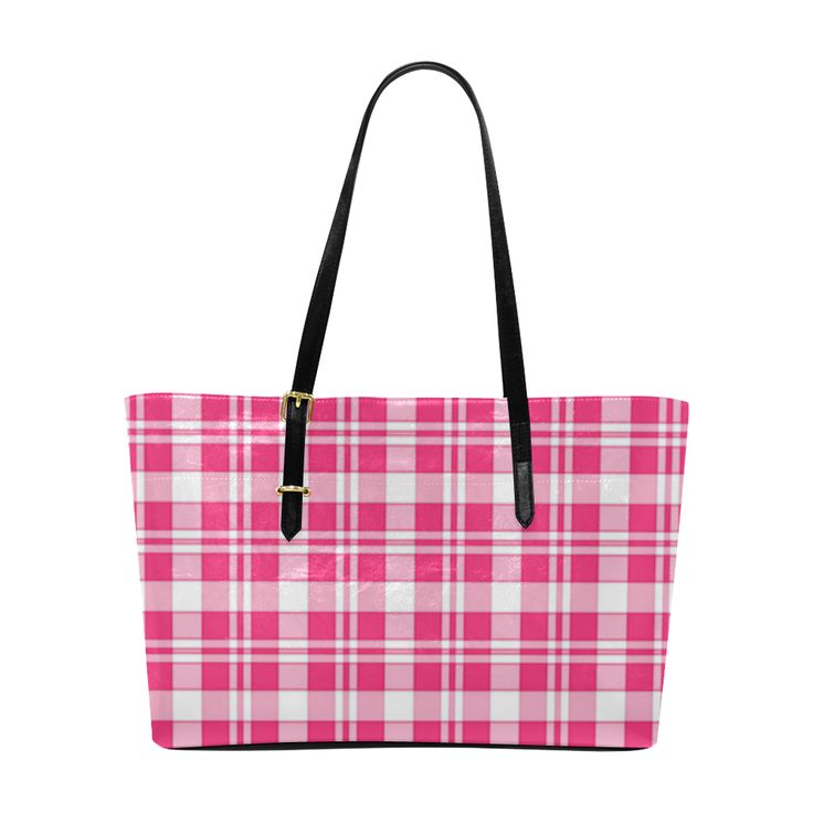 Red and White Tartan Check Euramerican Tote Bag/Large (Model 1656)