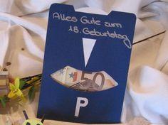 Parkscheibe - Geldgeschenke für Geburtstage basteln   Geldgeschenke basteln .de