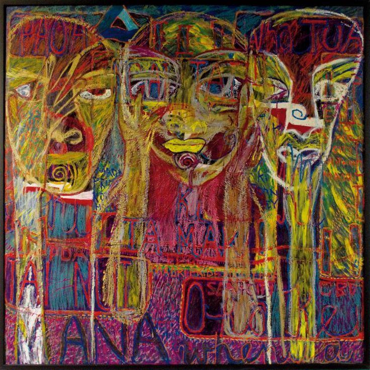 Emily Karaka, Untitled, Mixed media on board, 124.5 x 124.5 cm