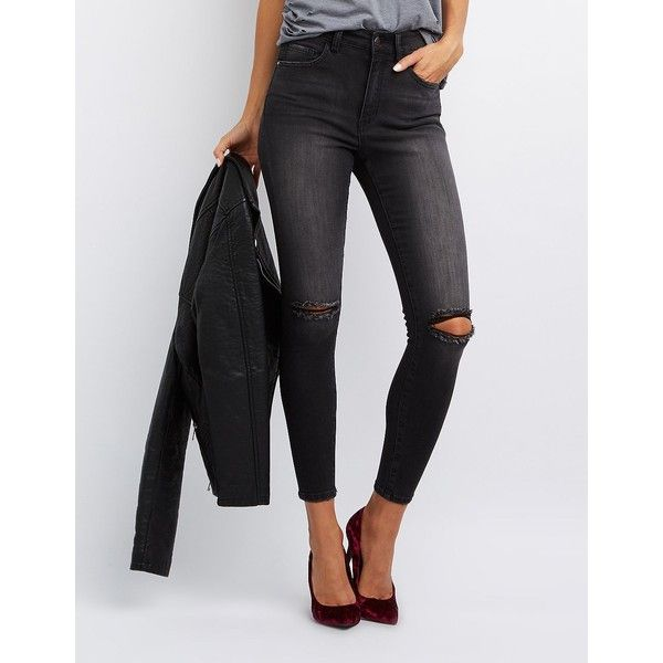 Refuge High-Rise Destroyed Skinny Jeans ($25) ❤ liked on Polyvore featuring jeans, black, high waisted skinny jeans, ripped denim jeans, high-waisted jeans, distressed jeans and high waisted distressed skinny jeans