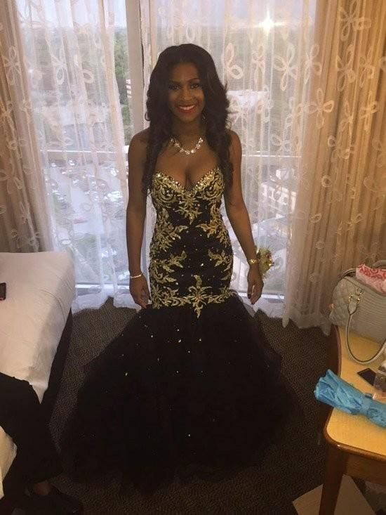 625a57906cf27 2K17 Black and Gold Sweetheart Prom Dresses 2016 New Mermaid Crystal ...