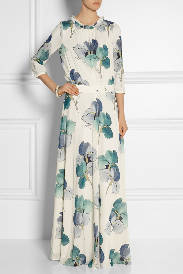 Tory burch julia floral print stretch silk georgette for Silk georgette wedding dress