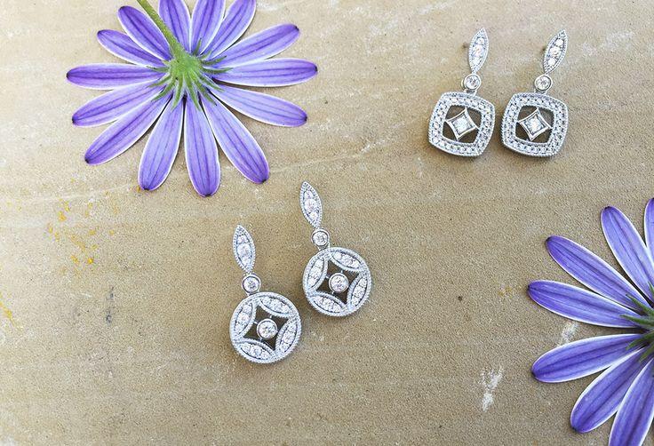 Pendientes Vintage para novia realizados en plata con circonitas. Joyas para novia. Marina Garcia Joyas | Vintage wedding earrings. Silver earrings with zircons. Bridal jewels