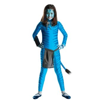Avatar Neytiri Child Costume: http://www.myhalloweencostumes.com/avatar-neytiri-child-costume.php - Includes jumpsuit,apron,necklace,gauntlet,beads. Does not include makeup or shoes. This is an officially licensed Avatar costume.