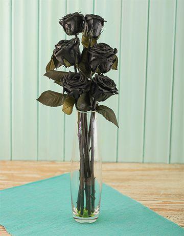 Silk Flowers: Black Roses in Glass Vase!
