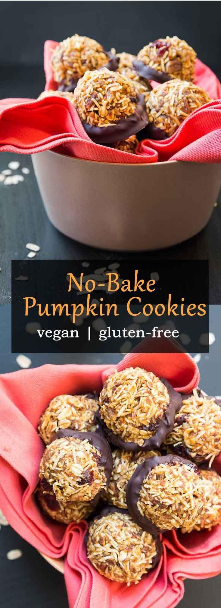No-Bake Vegan Pumpkin Cookies with Pecans & Coconut #vegan #glutenfree   Vegetarian Gastronomy   www.VegetarianGastronomy.com