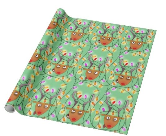 """""""Stuck reindeer"""" custom christmas wrapping paper pattern on sale in my zazzle store www.zazzle.com/martinaterzi check it out!"""