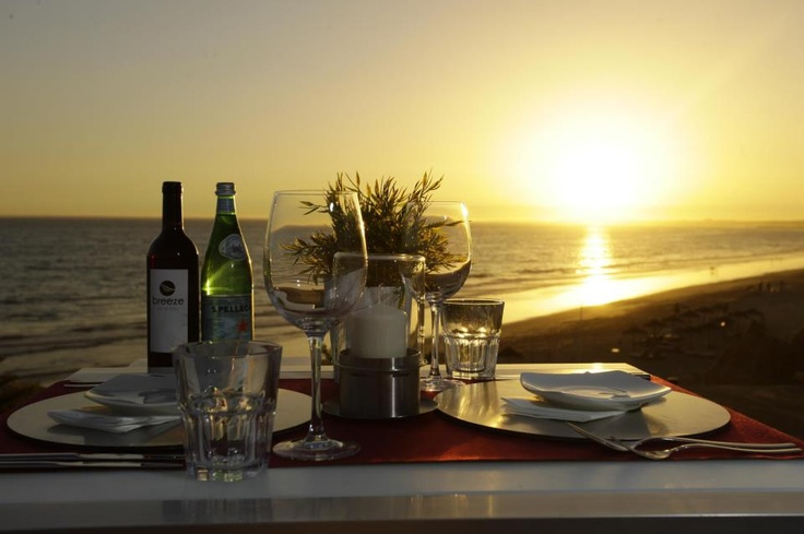 Sunset dining by the beach at Breeze, Vale do Lobo, Algarve