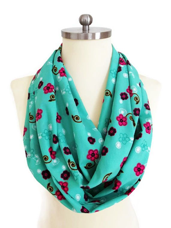 Mothers Day Gifts Mint Scarf Fuchsia Floral Print Mint Green