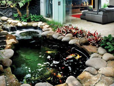 40 contoh desain kolam ikan minimalis depan rumah (with