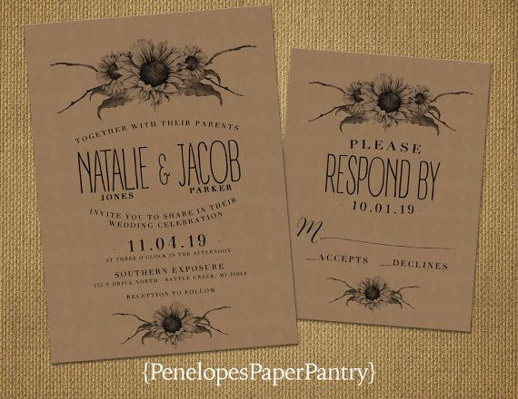 Rustic Sunflower Wedding InvitationVintage by PenelopesPaperPantry
