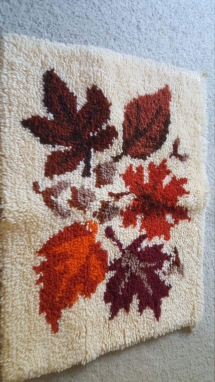 Latch Hook, vintage, canvas, yarn art, leaves, 1970s by RandomGoodsVintage on Etsy