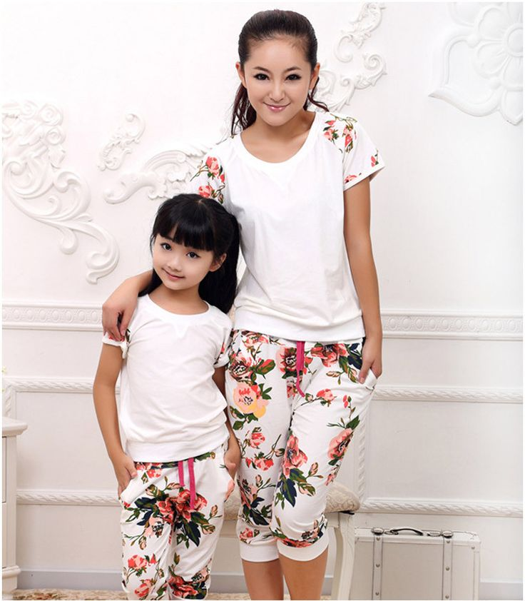 Mother Daughter Matching Clothes Cute Sport Cotton Short Sleeve Shirt+Pants  Family Look Matching Outfits