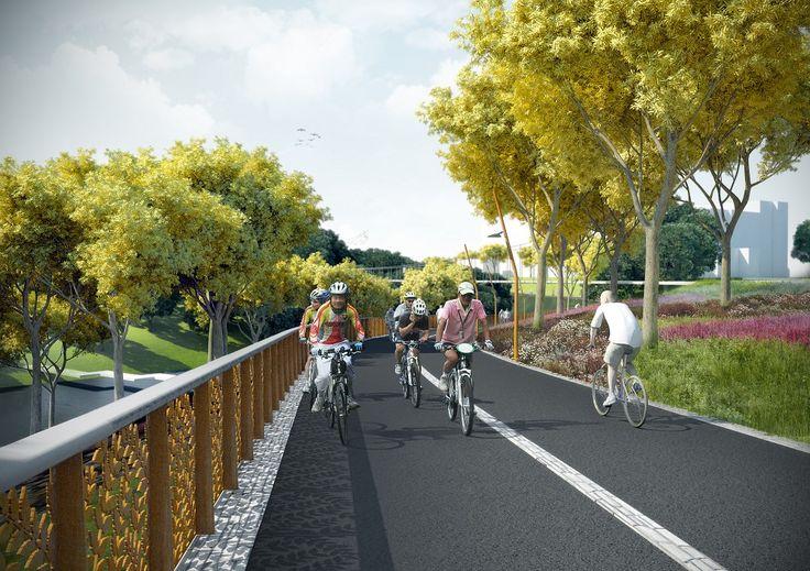 Architectenweb 22 december 2014: Mecanoo architecten heeft het ontwerp voor een 17,6 kilometer lange fietsroute tussen de Chinese stad Jiaozuo en de omringende bergen gepresenteerd. Het Golden Ribbon-tracé is bedoeld voor woon-werkverkeer, sport en recreatieve doeleinden. [...] Het project volgt uit onderzoek naar mobiliteitsinnovaties van de Universiteit van Shandong en wordt gefinancierd door de Wereldbank.