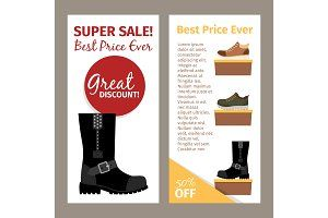 Men winter and autumn boots flyers infographics logos books and webpage design. These object sets feature themes including alphabets flowers and photo overlays in vector hand-drawn and watercolor styles.