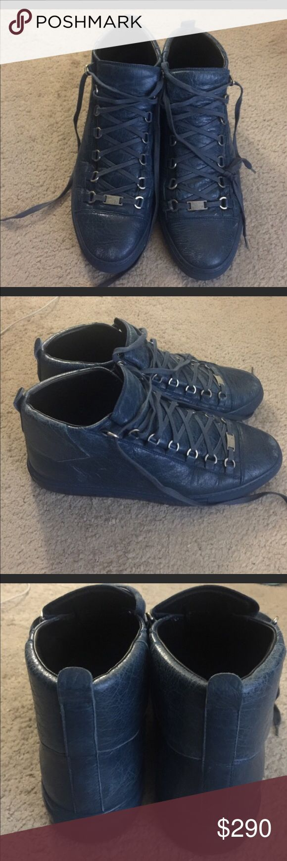 Men's blue Balenciaga arena sneakers sz 13 Men's blue Balenciaga arena sneakers sz 13. They are a 13 but they fit like a 13.5. Also they have small faded spots on the front which can be seen in the pictures. Balenciaga Shoes Sneakers